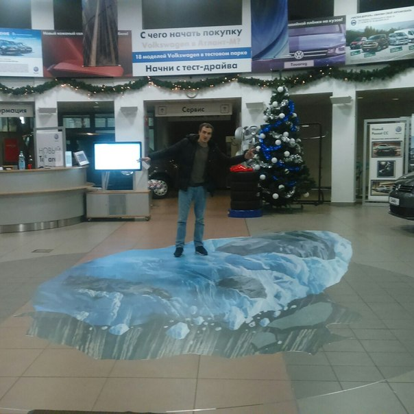 3d floor sticker at the car showroom