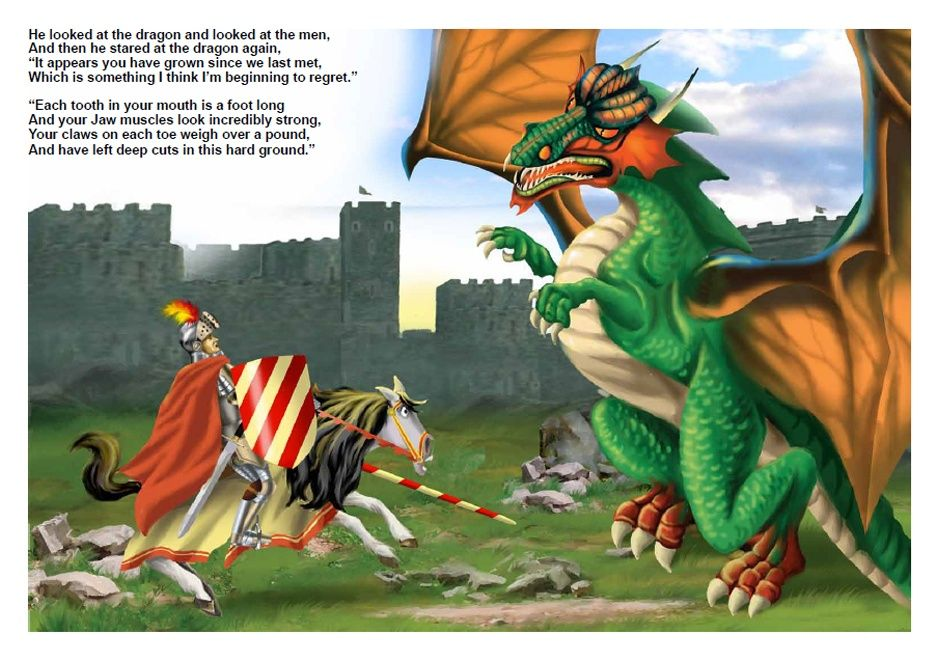 "Illustration to the book ""Sir James and the Dragon"""
